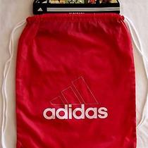 Adidas Polyester Sackpack Drawstring Rope Pack Red W/white Name Logo Photo