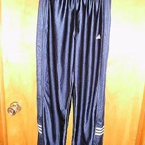 Adidas S Exercise Pants Polyester Silk Gym Pull on Womens Mens Navy Stripper Euc Photo