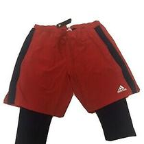 Adidas Soccer Shorts Capri Lined With Tights Red Navy 2xl Zip Pockets Photo