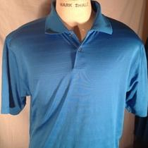 Adidas Solid Medium Blue/aqua Casual Polo Size Large L Climacool Photo