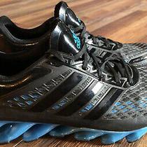 Adidas Springblade Techfit Mens Size 10.5 Athletic Shoes Black / Blue Euc Photo