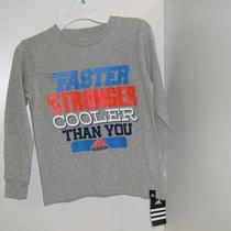 Adidas T Shirt Boys Size 7 Long Sleeve Gray Faster Stronger Cooler Than You New Photo