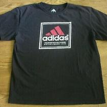 Adidas T-Shirt Mens Large Black With Red and White Logo 100% Cotton Photo