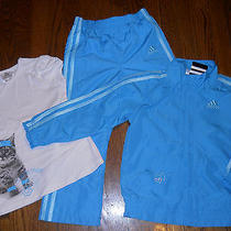 Adidas Toddlers/kids Girls 3pc Set Brand New Blue & White Sport Suit Sz 5t Nwt Photo