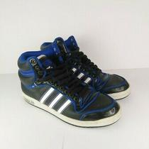 Adidas Top Ten Black White & Blue Sneakers Shoes Size 12 Rare Photo
