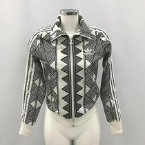Adidas Track Jacket Size Xs Uk 6 Zip Up Style Black White Patterned Sport 483189 Photo