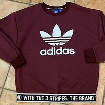 Adidas Trefoil Brand With 3 Stripes Burgundy White Pullover Sweatshirt Men S New Photo