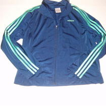 Adidas Warm Up Jacket Blue With Aqua Green Stripes Mesh Lined Superb Size Xl Photo