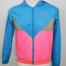 Adidas Woman's Trefoil Windbreaker Track Zip Up Hoodie Jacket Sz 38 Photo