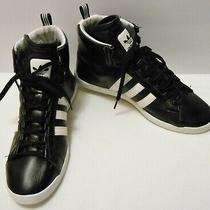 Adidas Women's Round-It High Top Sneakers Running Shoes Black Leather 10  Photo