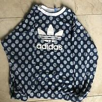 Adidas Women's Sz L Blue Polka Dot Trefoil Oversized Sweatshirt Photo