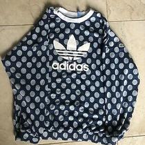 Adidas Women's Sz L Blue Polka Dot Trefoil Oversized Sweatshirt Photo