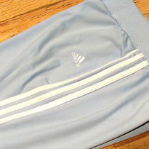 Adidas Womens Athletic Soccer Track Pants Size M Solid Light Blue W/ White 0547 Photo