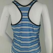 Adidas Womens Tank Top Large Built in Bra Racer Back Blue White Euc Photo