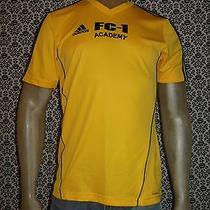 Adidas Yellow v Neck Short Slv Poly Futbol Soccer Shirt Jersey Mens Small Used Photo