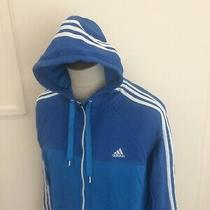 Adidas Zip Up Hooded Sweat Shirt Hoodie Top Size Xl Blue  Photo