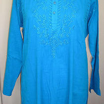 Adini 100% Crinkle Cotton Self Embroidered Kurta Tunic in Bright Turquoise Photo
