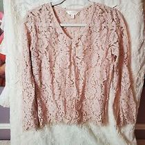 Adiva Lace Crochet Womens Shirt Top Blouse Size S Nude Blush Pink Photo