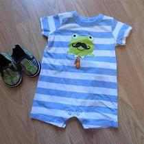 Adorable Baby Boy Boutique Frog Mustache Romper Shoes Set Outfit 9m (6-9) Spring Photo