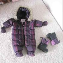 Adorable Down Burberry Snow Suit With Matching Glovesbooties and Snow Boots Photo