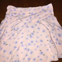Adorable Girls Abercrombie Kids Skater Skirt - Blush W/ Blue Flowers - Size Med Photo