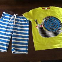 Adorable Mini Boden Aqua Blue Baggies & Snail Applique Tee 5 6 Photo