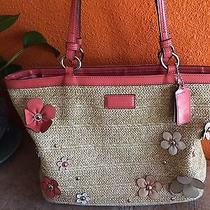 Adorable Patent Pink Floral Coach Straw Purse Sale  Sale Sale Sale Sale Sale  Photo