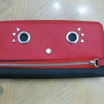 Adorable Red Black Leather Calvin Klein Zip Around Clutch Style Wallet Photo