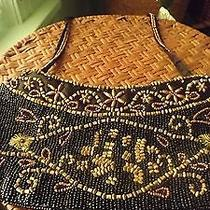 Adorable Small Black/bronze Beaded Vintage Dress/evening Bag 4.5