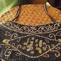 Adorable Small Black/bronze Beaded Vintage Dress/evening Bag 4.5