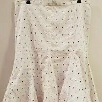 Adorable White/pink Polka Dot Skirt by Bcbg Maxazria Size 10 Photo
