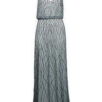 Adrianna Papell 091860630 Blouson Beaded Mesh Long Dress Slate Sz 14 Nwt New Photo