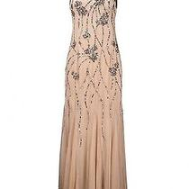 Adrianna Papell 091897540 Beaded Long Dress W/ Shawl Slate Sz 14 Nwt New Photo