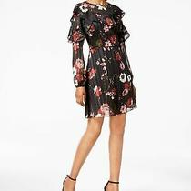 Adrianna Papell 139 New 1263 Black Floral Print Ruffled Shift Dress 14 Bb Photo