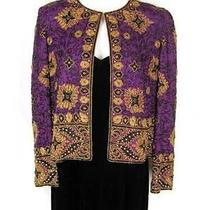 Adrianna Papell 2 Piece Set S Beaded Jacket Purple 6 Black Velvet Dress Elegant Photo