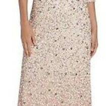 Adrianna Papell 3/4-Sleeve All Over Sequin Gown Blush 16 320 Evening Dress  Photo