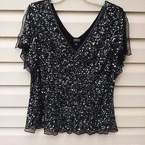 Adrianna Papell 3x Black Sequin Encrusted Evening Top Bust 50' 27