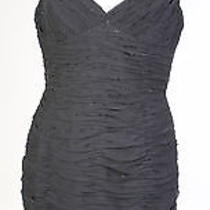 Adrianna Papell Black Cocktail Dress With Sequin Detail Size 14 Ref 1074-08 Photo