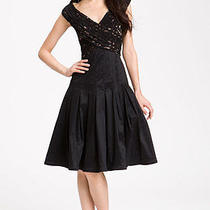 Adrianna Papell Black Lace & Taffeta Dress - 8p Photo