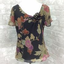 Adrianna Papell Blouse 8 Silk Black Pink Floral Slant v Neck Rosette Lined Photo