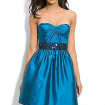 Adrianna Papell Blue Beaded Strapless Taffeta Party Dress Size 8 Photo