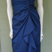 Adrianna Papell Blue Taffeta Cocktail Dress 12 Photo