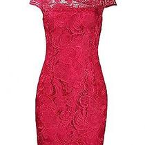Adrianna Papell Cap Sleeve Floral Crochet Lace Fashion Dress 8 Lacquer Pink Photo