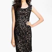 Adrianna Papell Cap Sleeve Lace Sheath Dress Size 4 Black / Nude Photo