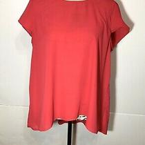 Adrianna Papell Cap Sleeve Sheer Blouse Size L Pink  Photo