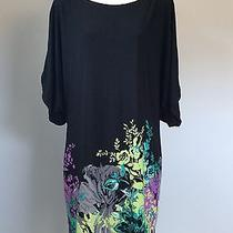 Adrianna Papell Cold Shoulder Dress Sz 14 Black With Bright Colors Photo