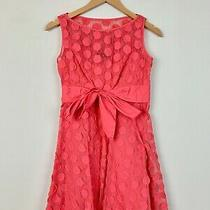 Adrianna Papell Coral Pink Sleeveless Circle Embroidered Cotton Dress Sz 10 M S Photo
