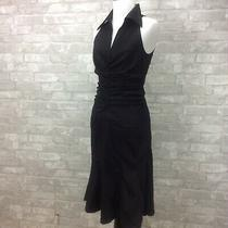 Adrianna Papell Dress 4 Black Taffeta Fit Flare Cut in Shoulders Ruched Bodice Photo