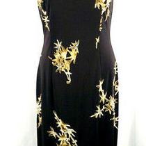 Adrianna Papell Dress Size 6 Evening Sleeveless Black Beaded Maxi Photo