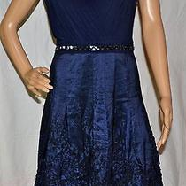 Adrianna Papell Eclipse Blue Matte Jersey & Taffeta Dress Size 10p Photo